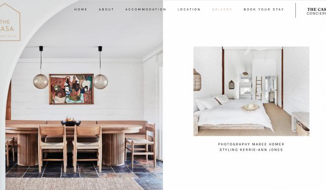 web design for a luxury airbnb in Australia